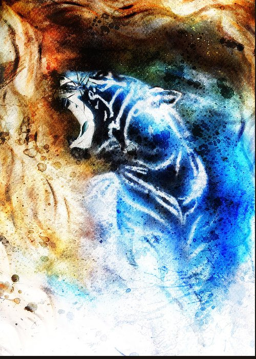 Africa Greeting Card featuring the photograph Painting Abstract Tiger Collage On Color Space Background Wildlife Animals. by Jozef Klopacka