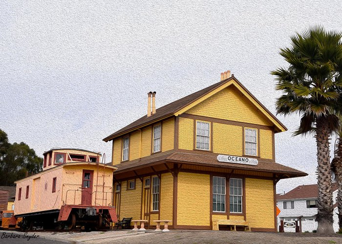 Barbara Snyder Greeting Card featuring the painting Painting Oceano Depot Museum by Barbara Snyder