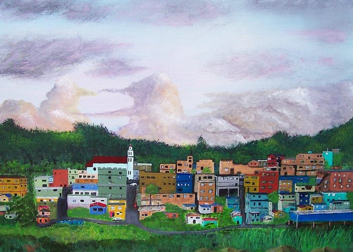 Painting The Town Greeting Card featuring the painting Painting The Town by Tony Rodriguez