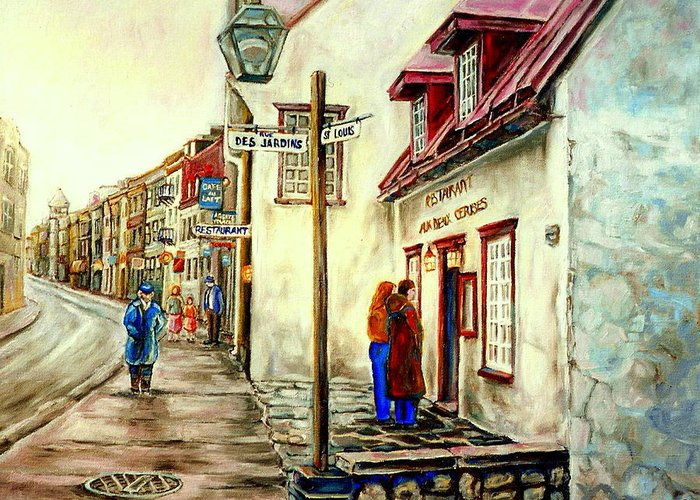 Quebec Paintings Greeting Card featuring the painting Paintings Of Quebec Landmarks Aux Anciens Canadiens Restaurant Rainy Morning October City Scene by Carole Spandau