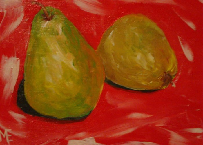 Pears Greeting Card featuring the painting Pair Of Pears by Melinda Etzold