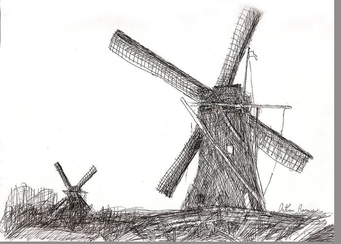 Holland Greeting Card featuring the drawing Pair Of Windmills 2016 by Arthur Barnes