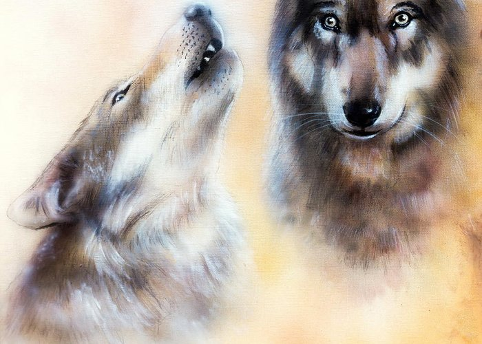 Wolf Greeting Card featuring the painting Pair Of Wolves by Jozef Klopacka