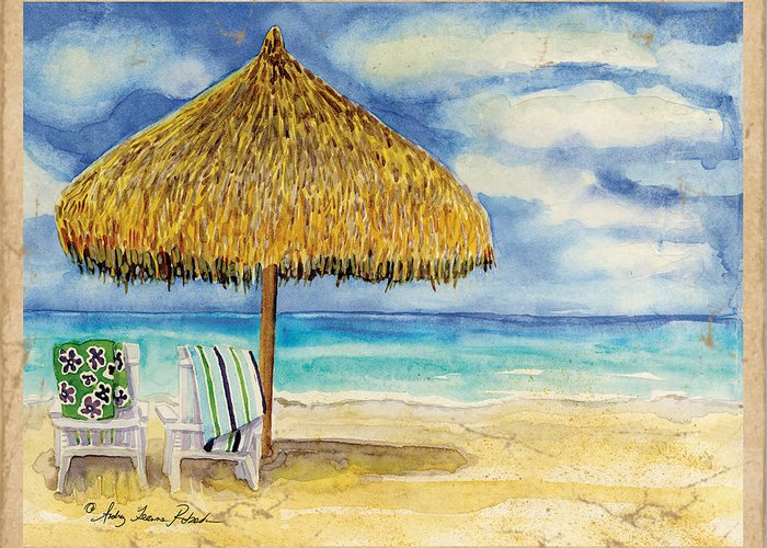 Beach Towel Mixed Media Greeting Cards