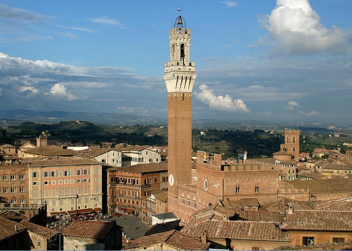 Siena Greeting Card featuring the photograph Palazzo Pubblico And Campo Siena by Mathew Lodge