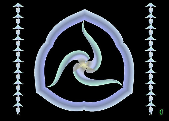 Meditation Greeting Card featuring the digital art Pale Swirl by Christopher Jay
