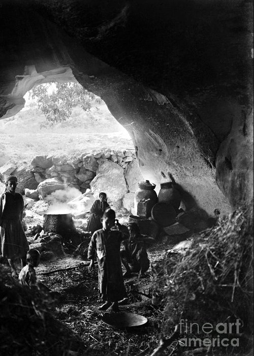 1910s Greeting Card featuring the photograph Palestine: Cave Dwelling by Granger