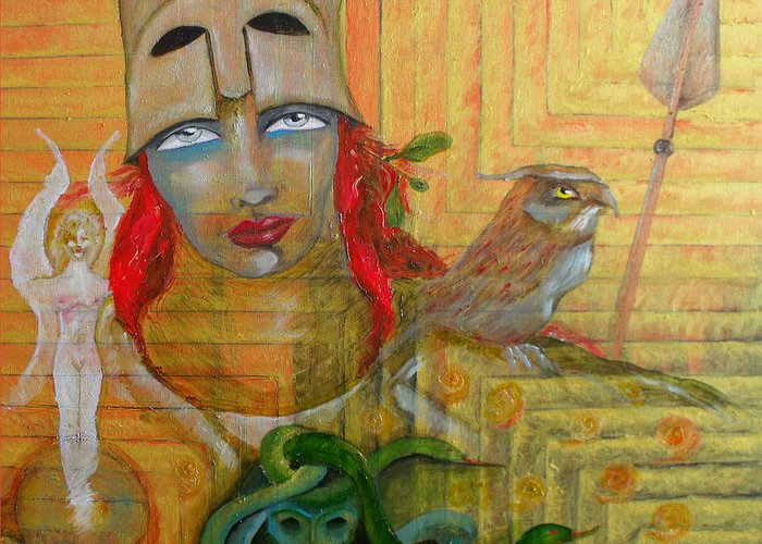 Greek Goddess Greeting Card featuring the painting Pallas Athena by Erika Brown