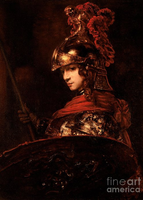 Pallas Greeting Card featuring the painting Pallas Athena by Rembrandt