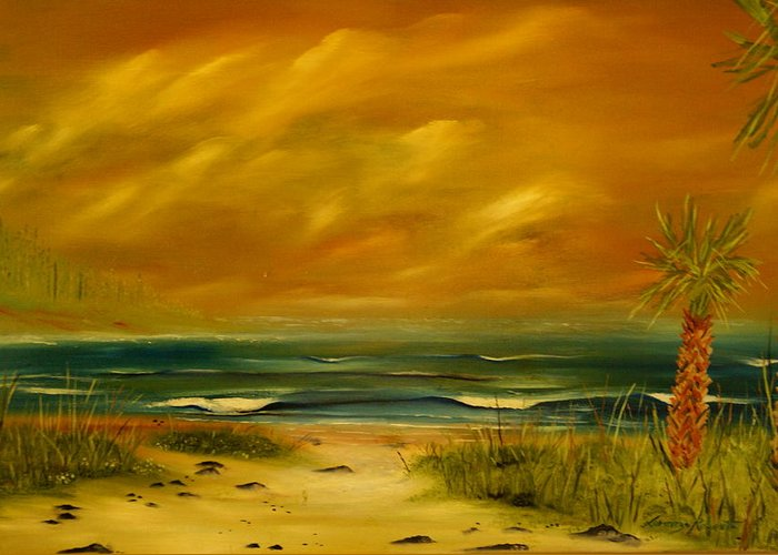 Sea Shore/palms/beach/skys Greeting Card featuring the painting Palm Island by Lorenzo Roberts