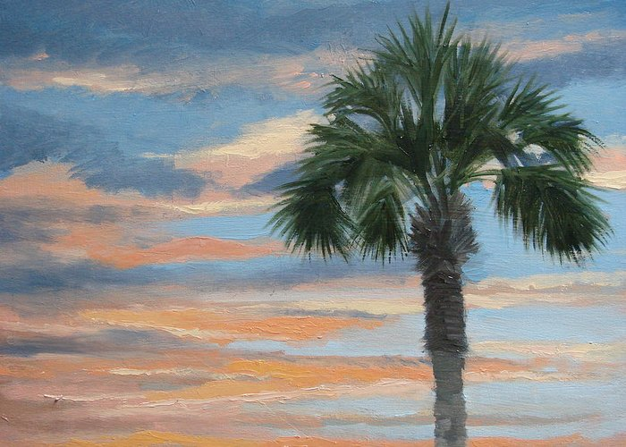 Landscape Greeting Card featuring the painting Palm Morning by Robert Rohrich