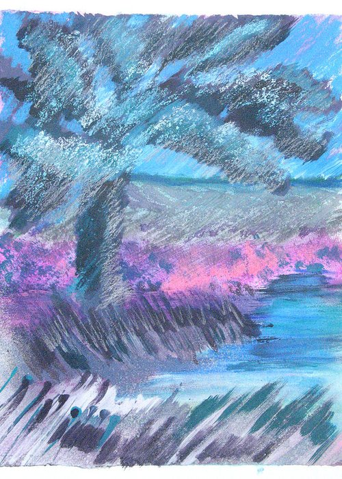 Greeting Card featuring the mixed media Palm Of The Night by Judy Loper