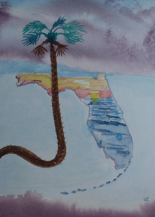 Landscape Watercolor Palm Tree Greeting Card featuring the painting Palm Over Florida by Warren Thompson