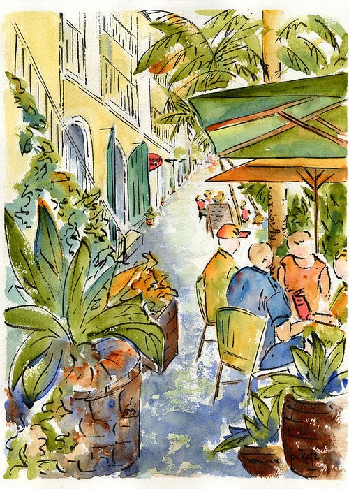 Palm Passage Greeting Card featuring the painting Palm Passage by Pat Katz