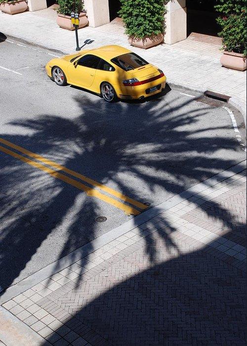 Porsche Greeting Card featuring the photograph Palm Porsche by Rob Hans