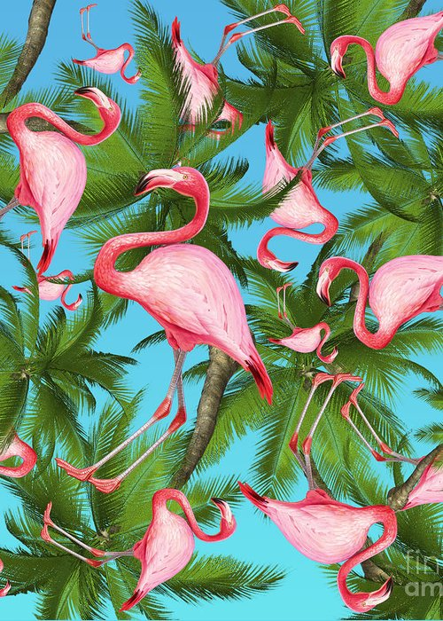 Summer Greeting Card featuring the digital art Palm tree by Mark Ashkenazi