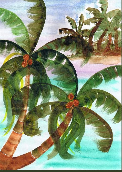 Palm Trees Greeting Card featuring the painting Palm Trees Breeze by Cheryl Fox