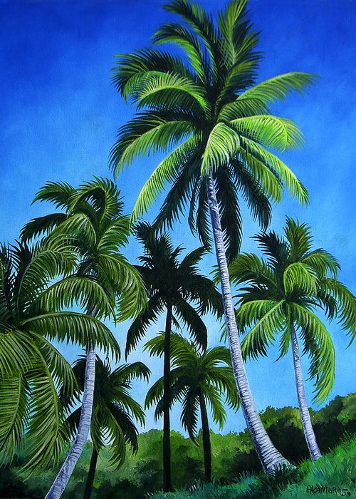 Palms Greeting Card featuring the painting Palm Trees Under A Blue Sky by Juan Alcantara