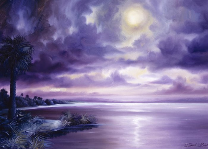 Moon Greeting Card featuring the painting Palmetto Moonscape by James Christopher Hill