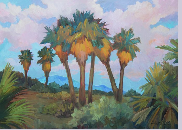 Anza Greeting Card featuring the painting Palms At Anza Borrego State Park by Diane McClary