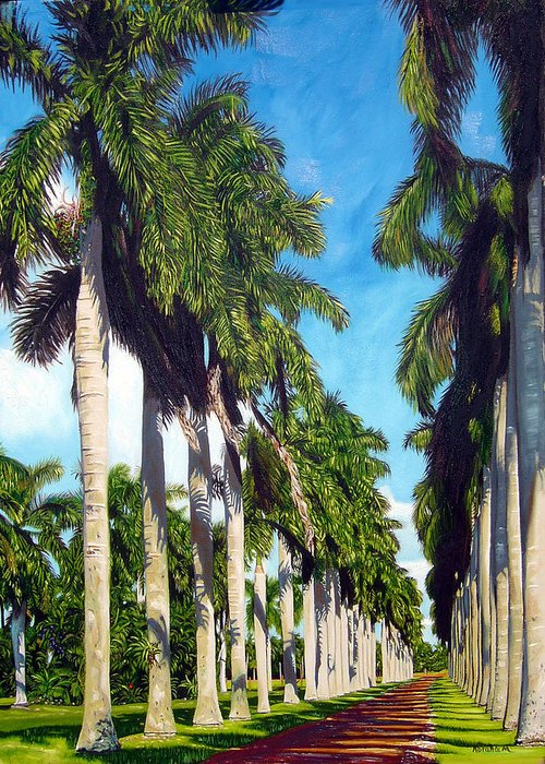Palms Greeting Card featuring the painting Palms by Jose Manuel Abraham