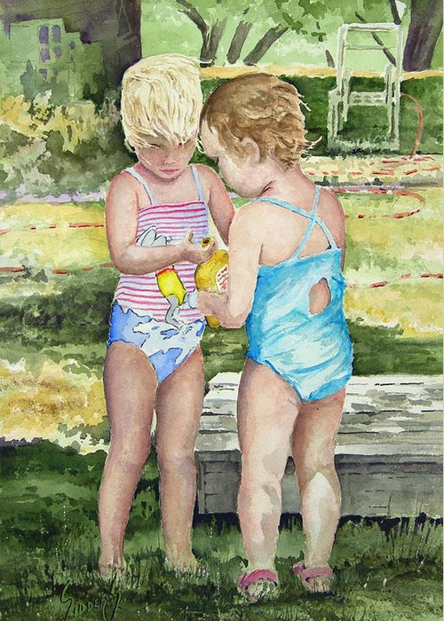 Children Greeting Card featuring the painting Pals Share by Sam Sidders