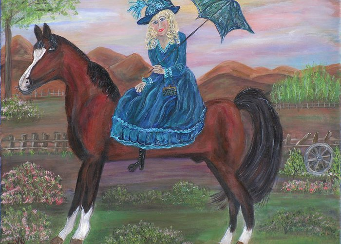 Horse Greeting Card featuring the painting Pamela And Markus by Mikki Alhart
