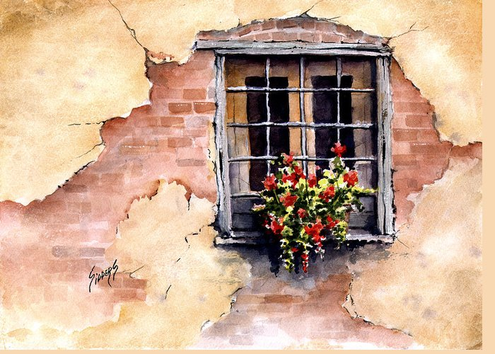 Window Greeting Card featuring the painting Pampa Window by Sam Sidders