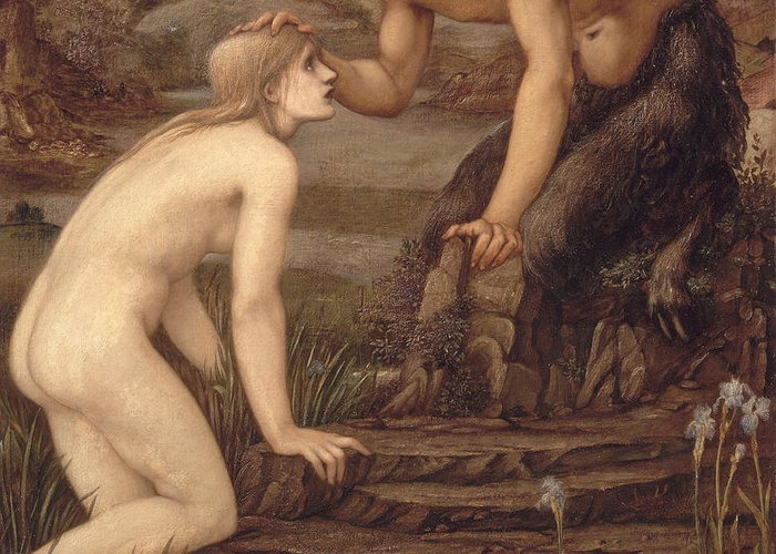 Pan And Psyche Greeting Card featuring the painting Pan And Psyche by Sir Edward Burne-Jones