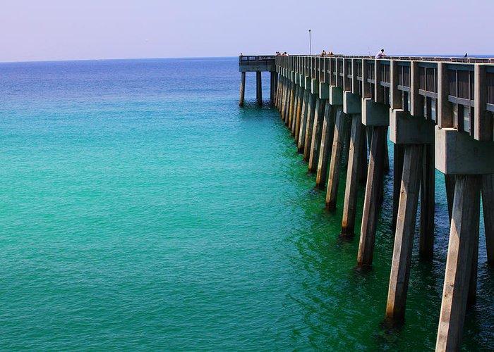 Panama City Greeting Card featuring the photograph Panama City Beach Pier by Toni Hopper