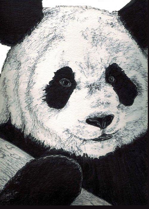 Panda Greeting Card featuring the painting Panda by Debra Sandstrom