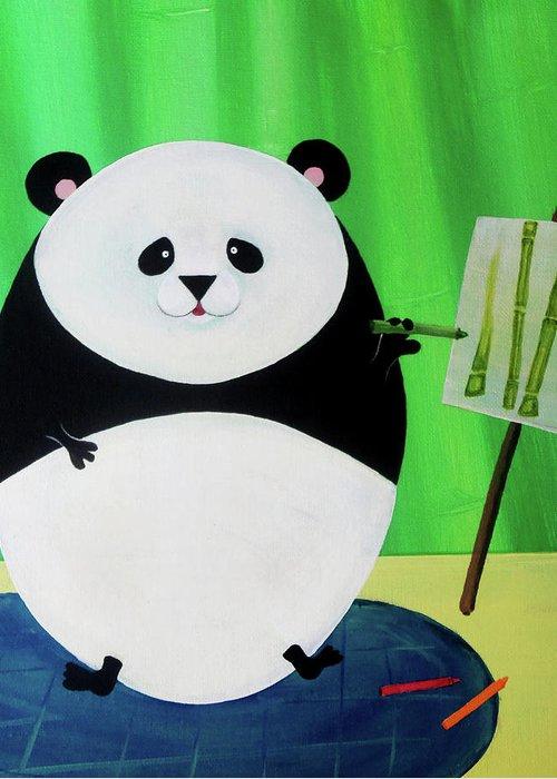 Panda Greeting Card featuring the painting Panda Drawing Bamboo by Lael Borduin
