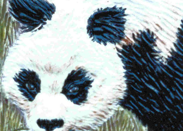 Panda Greeting Card featuring the relief Panda by Dy Witt