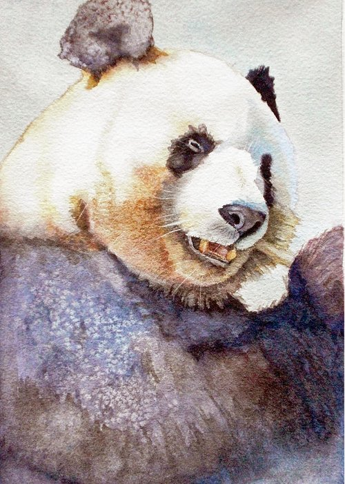 Panda Greeting Card featuring the painting Panda Eating by Bonnie Rinier
