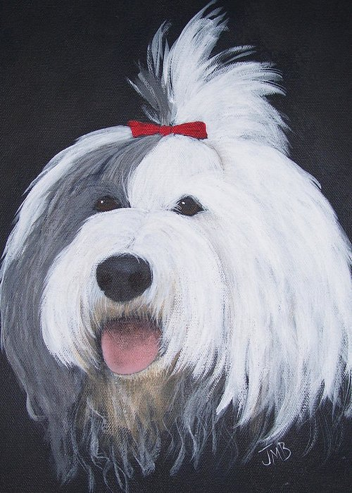 Pet Portrait Greeting Card featuring the painting Panda by Janice M Booth