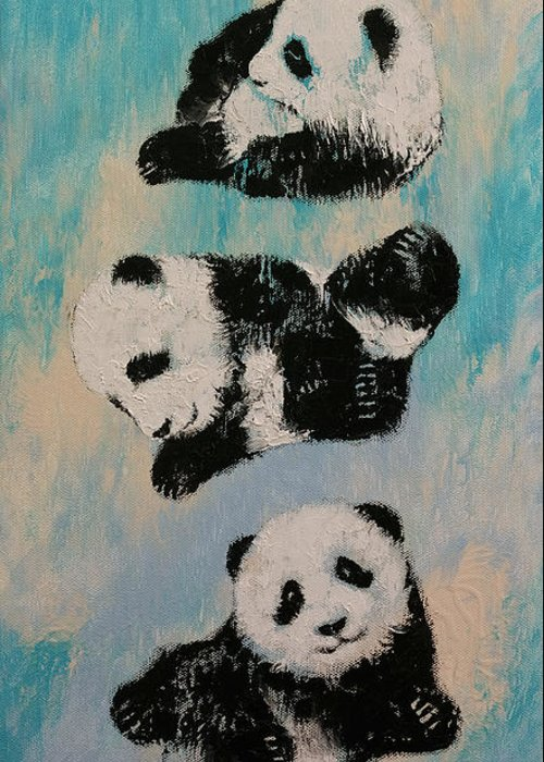 Children Greeting Card featuring the painting Panda Karate by Michael Creese