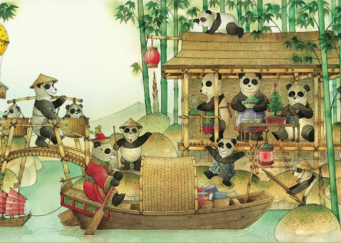 Christmas Greeting Cards Panda China Greeting Card featuring the painting Pandabears Christmas 03 by Kestutis Kasparavicius