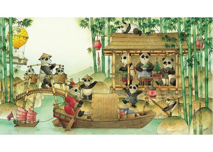 Christmas Greeting Cards Panda China Greeting Card featuring the painting Pandabears Christmas 03 by Kestutis Kasparavicius