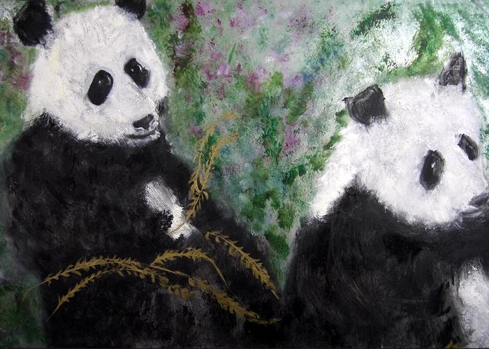 Animal Greeting Card featuring the painting Pandas With Golden Bamboo by Michela Akers