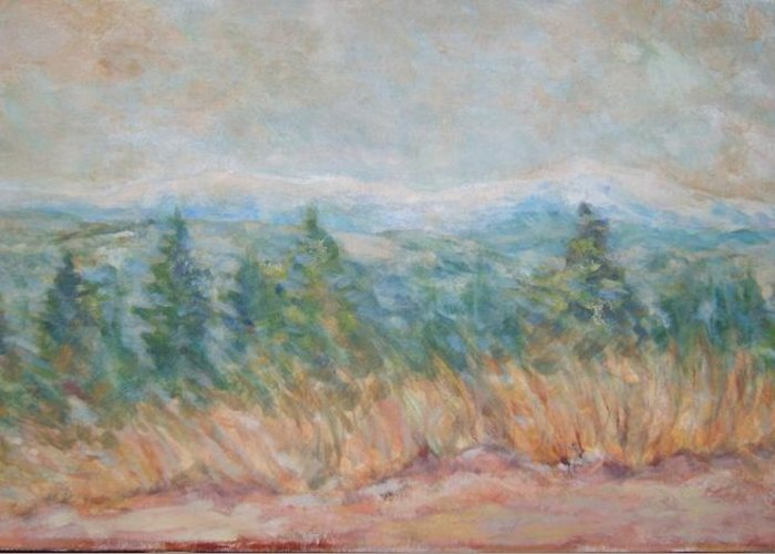 Landscape Trees Mountains Grass Panorama Greeting Card featuring the painting Panorama by Joseph Sandora Jr