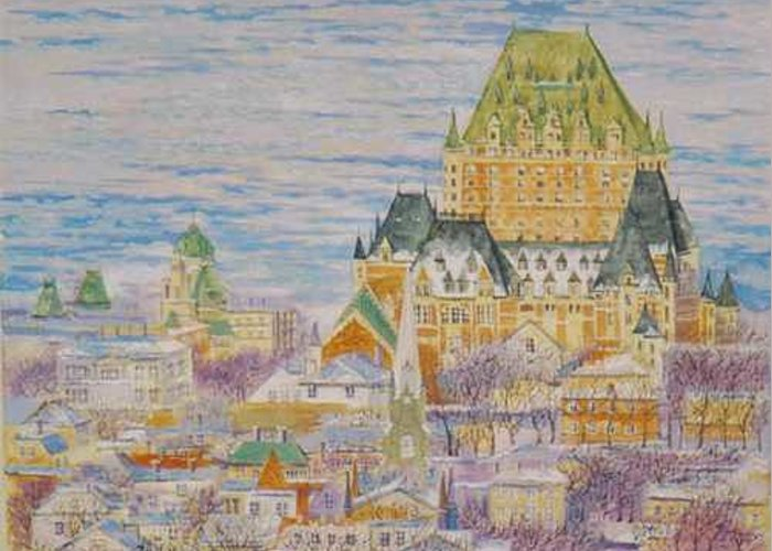 Cityscape Greeting Card featuring the painting Panorama of Quebec.2004 by Natalia Piacheva