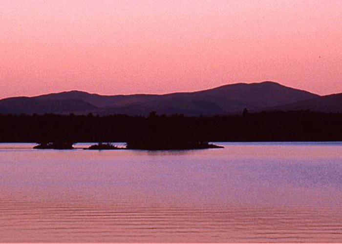 Panorama Greeting Card featuring the photograph Panorama-predawn Lake Umbagog by Roger Soule