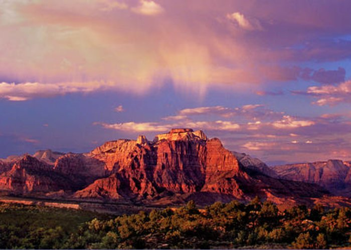 North America Greeting Card featuring the photograph Panorama West Temple At Sunset Zion Natonal Park by Dave Welling