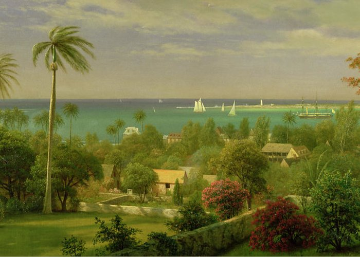 Panoramic View Of The Harbour At Nassau In The Bahamas Greeting Card featuring the painting Panoramic View Of The Harbour At Nassau In The Bahamas by Albert Bierstadt