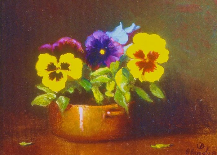 Still Life With Pansies In Copper Bowl Greeting Card featuring the painting Pansies In Copper Bowl by David Olander