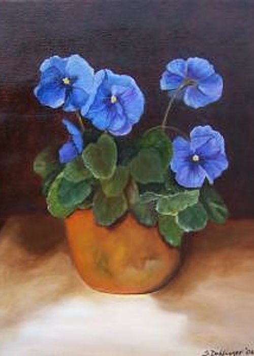 Blue And Purple Pansies In A Terracotta Pot Set Against A Dramatic Background Greeting Card featuring the painting Pansies In Terracotta by Susan Dehlinger