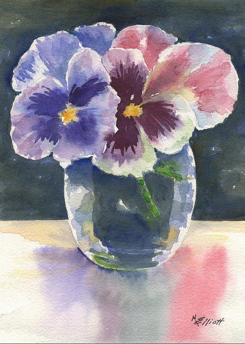 Pansies Greeting Card featuring the painting Pansies by Marsha Elliott