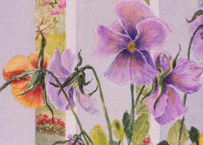 Florals Greeting Card featuring the painting Pansies On My Porch by Mary Ellen Mueller Legault