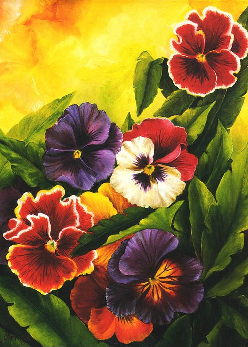 Flowers Greeting Card featuring the painting Pansies Or Vuela Mis Pensamientos by Dominica Alcantara