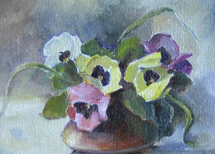 Armenian Greeting Card featuring the painting Pansies by Tigran Ghulyan